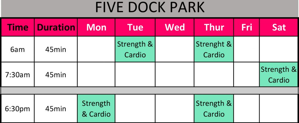 Session Timetable Five Dock Park Oct 17