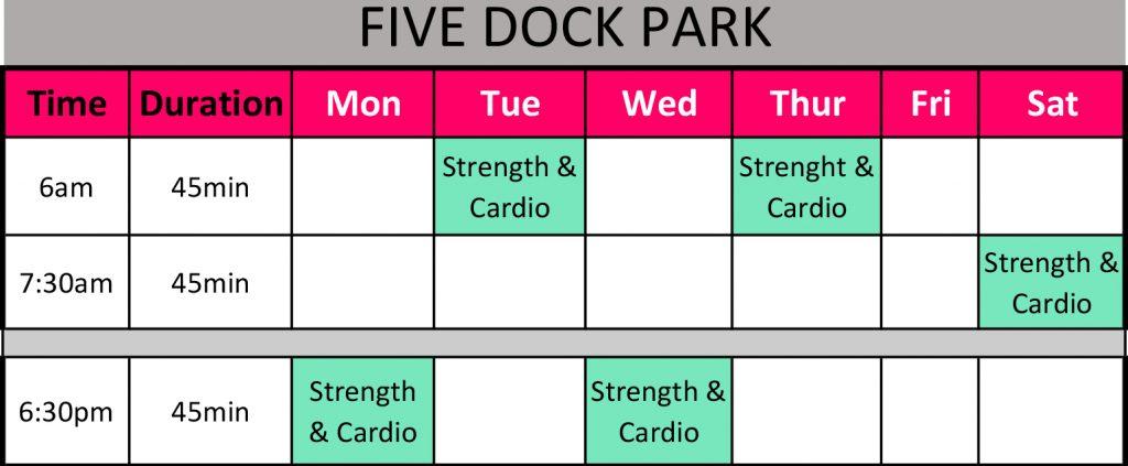 Session Timetable Five Dock Park Sep 17